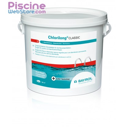 Chlore piscine chlorilong 5kg bayrol for Concentration chlore piscine