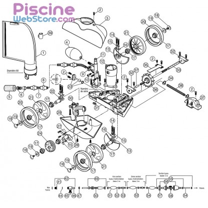 Pi ces d tach es robot piscine polaris 280 for Aspirateur piscine polaris 280