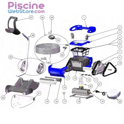 Pieces detachees robot piscine typhoon