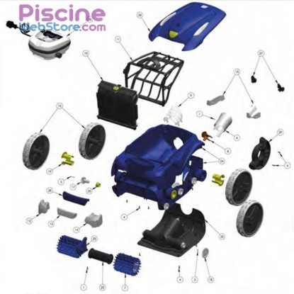 Pi ces d tach es robot piscine zodiac vortex 3 4wd for Pieces detachees robot piscine zodiac