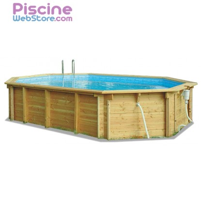 Piscine bois Aqualux Bilbao allongée