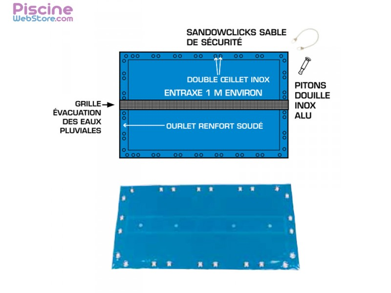 B che hiver de s curit opaque iraklia safe pour piscine for Bache piscine securite