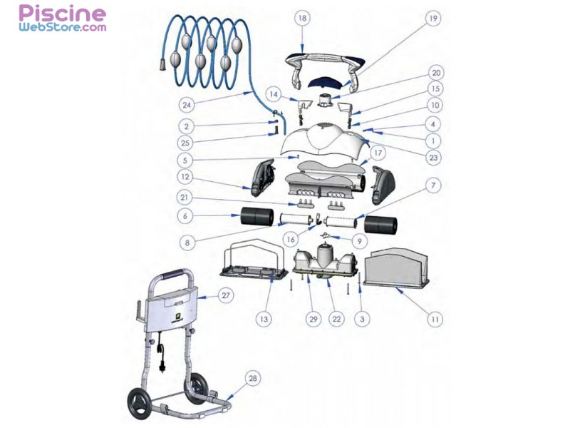Pi ces d tach es robot piscine zodiac cybernaut nt for Pieces detachees robot piscine zodiac