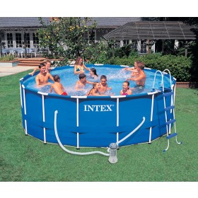 Piscine tubulaire ronde Intex Metal Frame 4,57 x h1,22 m