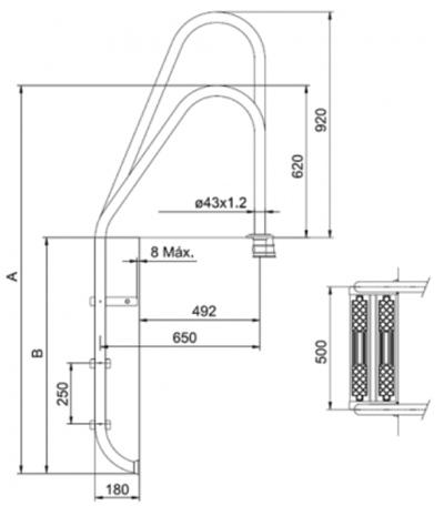 Echelle asym trique inox 2 5 marches pour piscine for Dimension piscine standard