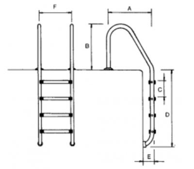 echelle standard inox 2 5 marches pour piscine. Black Bedroom Furniture Sets. Home Design Ideas