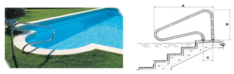 sortie de bain avec deux ancrages ext rieurs inox pour piscine. Black Bedroom Furniture Sets. Home Design Ideas