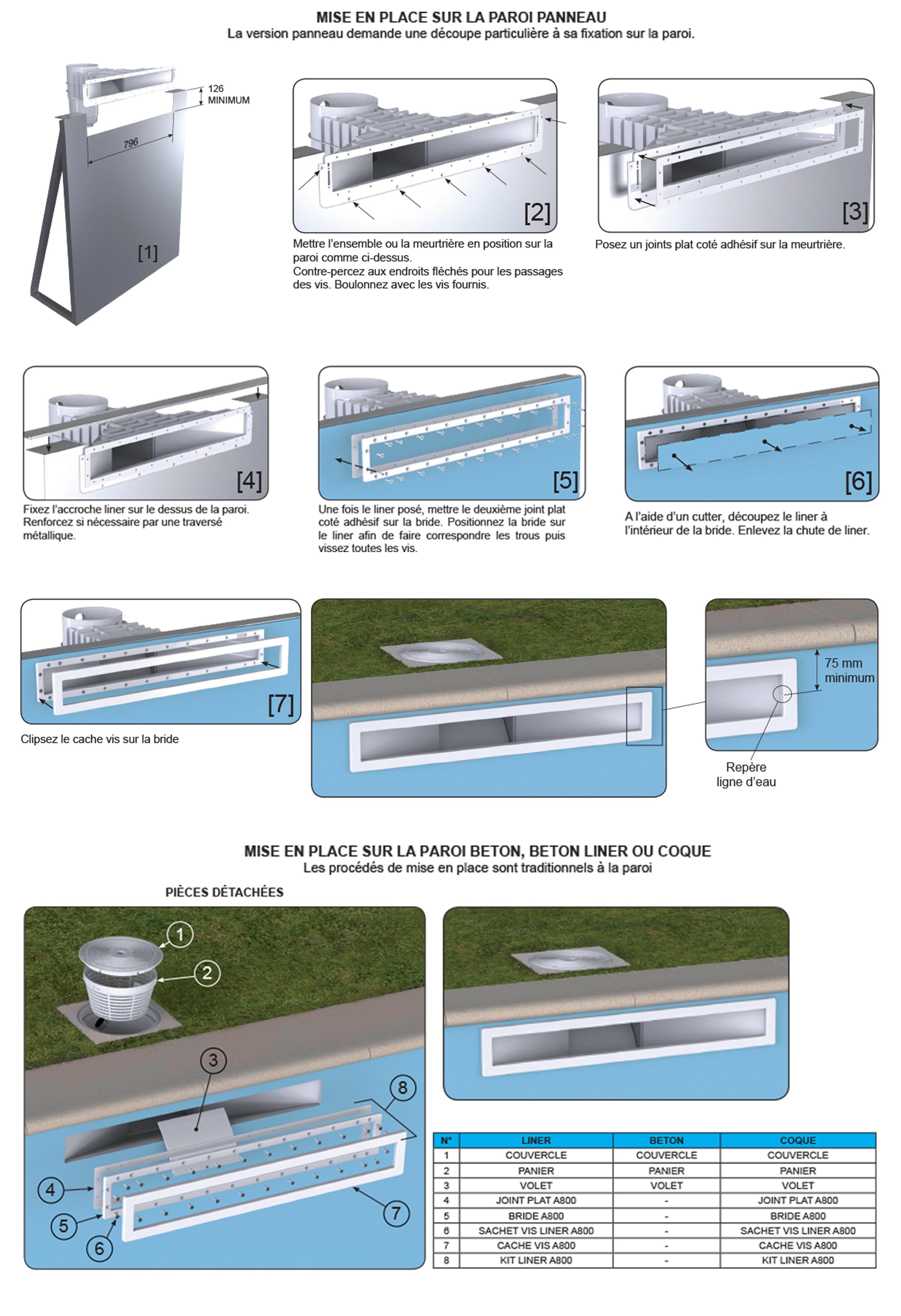 Skimmer a800 miroir grande meurtriere blanc liner beton for Plan piscine miroir