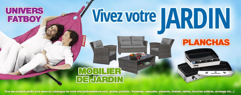 Mobilier de jardin, planchas, fatboy, douches solaires, chaises, tables, arrosage, parasols...
